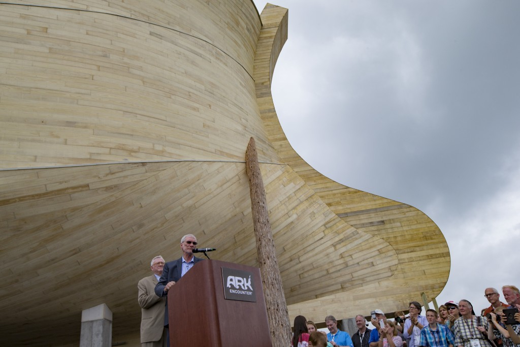 Ken Ham, president and CEO of Answers in Genesis, the Creation Museum, and Ark Encounter, speaks during a news conference at the Ark Encounter theme park during a media preview day, Tuesday, July 5, 2016, in Williamstown, Ky. The long-awaited theme park based on the story of a man who got a warning from God about a worldwide flood will debut in central Kentucky this Thursday. The Christian group behind the 510 foot-long wooden ark says it will demonstrate that the stories of the Bible are true. Its construction has rankled opponents who say the attraction will be detrimental to science education. (AP Photo/John Minchillo)